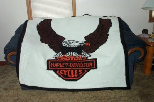 Free Harley Davidson Crochet Afghan Pattern : Ohio State Afghan is on the left. Finished size is 60